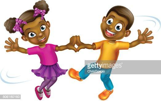 Cartoon Kids Dancing Vector Art Thinkstock