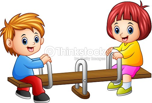 Cartoon Kids Playing Seesaw On White Background Vector Art Thinkstock