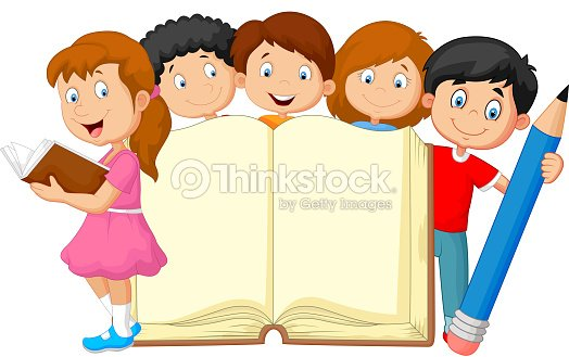 cartoon kids with book and pencil vector art - Cartoon Picture For Kids