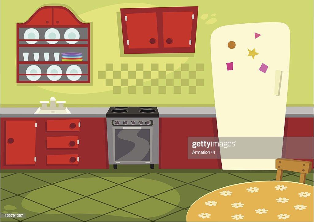 cartoon kitchen vector art getty images. Black Bedroom Furniture Sets. Home Design Ideas