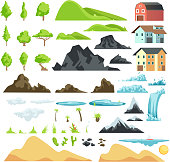 Cartoon landscape vector elements with mountains, hills, tropical trees and buildings. Hill and mountain nature illustration