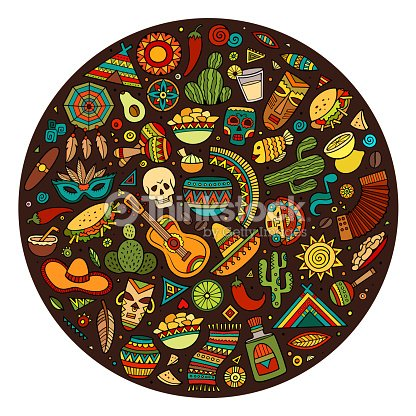 Cartoon Latin American Symbols Set Vector Art Thinkstock