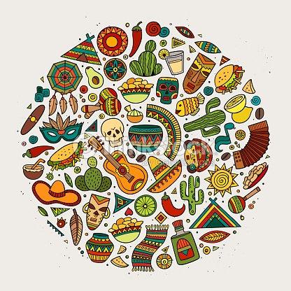 Cartoon Latin American Symbols Set Vector Art Thinkstock