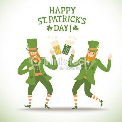Cartoon Leprechauns With Beer stock vector - Thinkstock