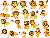 Vector illustration of Cartoon lions collection set