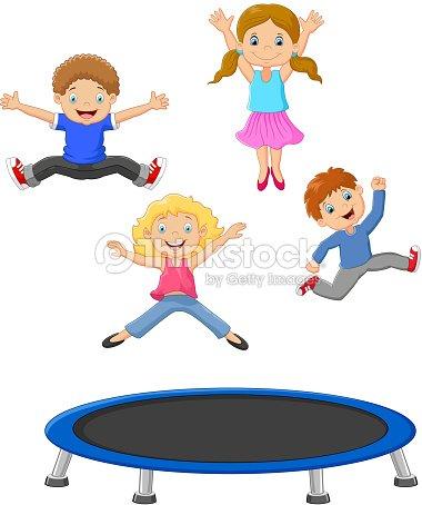petits enfants dessin anim jouant trampoline clipart. Black Bedroom Furniture Sets. Home Design Ideas
