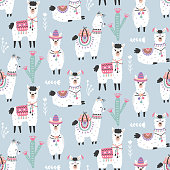 Cartoon Llama Alpaca Seamless Pattern. Hand Drawn Elements. Nursery Childish  Textile, Wallpaper. Vector illustration