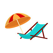 Lounge chair and striped beach umbrella, cartoon vector illustration isolated on white background. summer vacation
