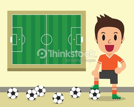 cartoon male soccer player and soccer field template vector art