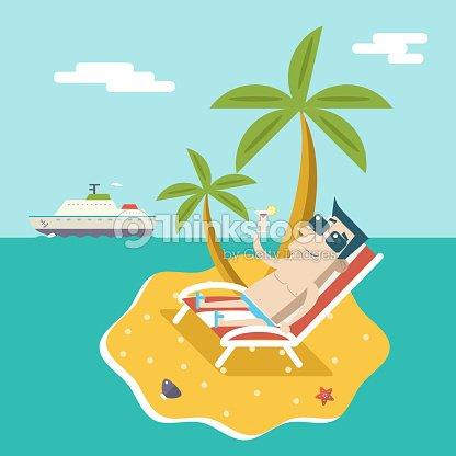 Homme en dessin anim personnages t vacances voyage mer - Dessin d une ile ...