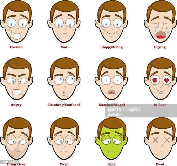 Cartoon man expressing sixteen different emotions
