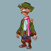 cartoon man in a cocked hat and pirate clothes with a pink scarf