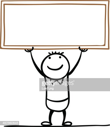 how to draw a cartoon man holding a sign