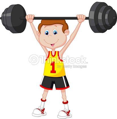 Homme en dessin anim de musculation avec halt res clipart - Musculation dessin ...