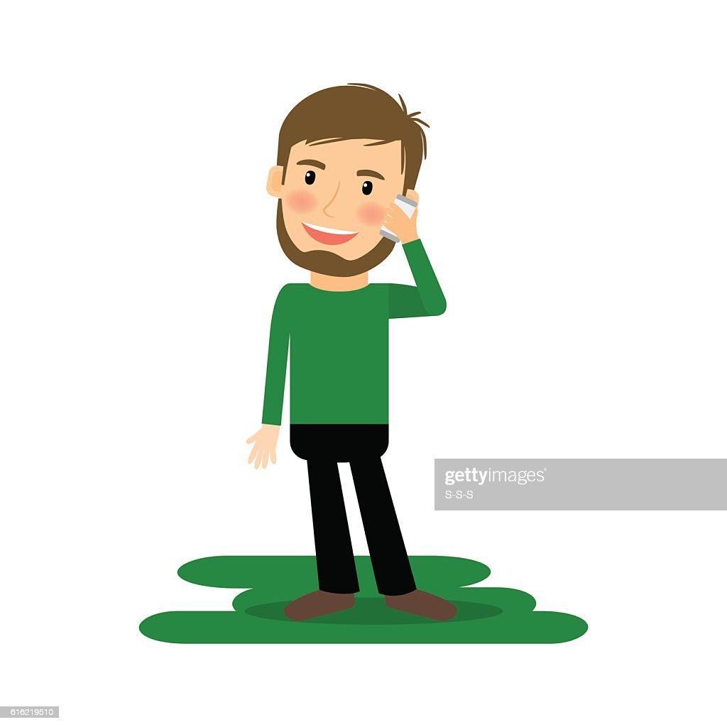 Cartoon man talking on the phone : Vector Art