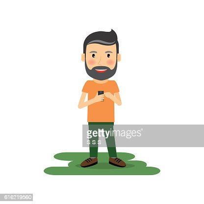 Cartoon man with gadget : Vector Art
