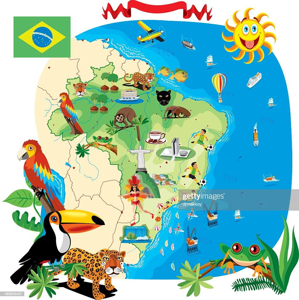 Cartoon Map Of Brazil Vector Art Getty Images - Map of brazil