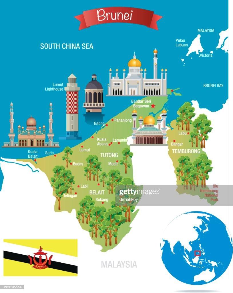 Cartoon Map Of Brunei Vector Art Getty Images - Brunei map
