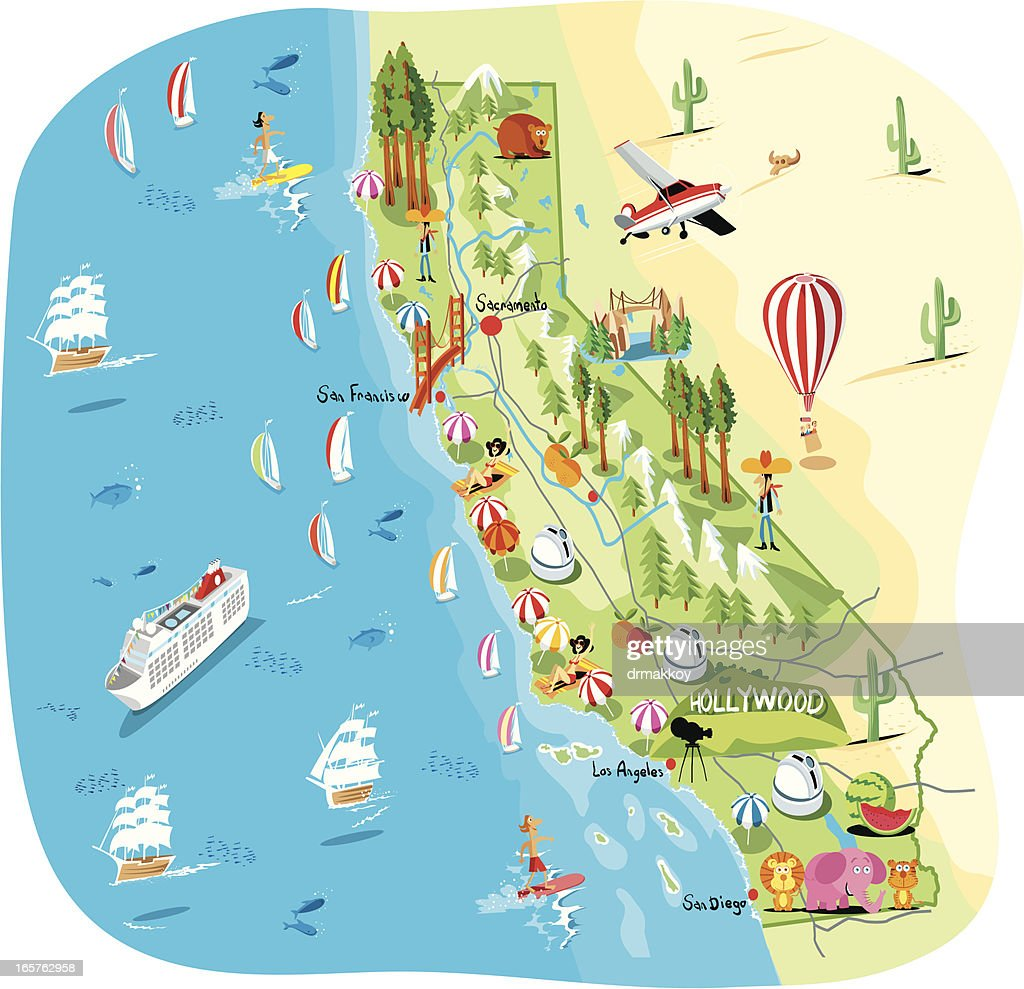 Cartoon Map Of California Vector Art Getty Images - Los angeles map vector
