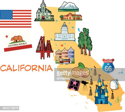 Cartoon Map Of California Vector Art Getty Images - Map of us cartoon