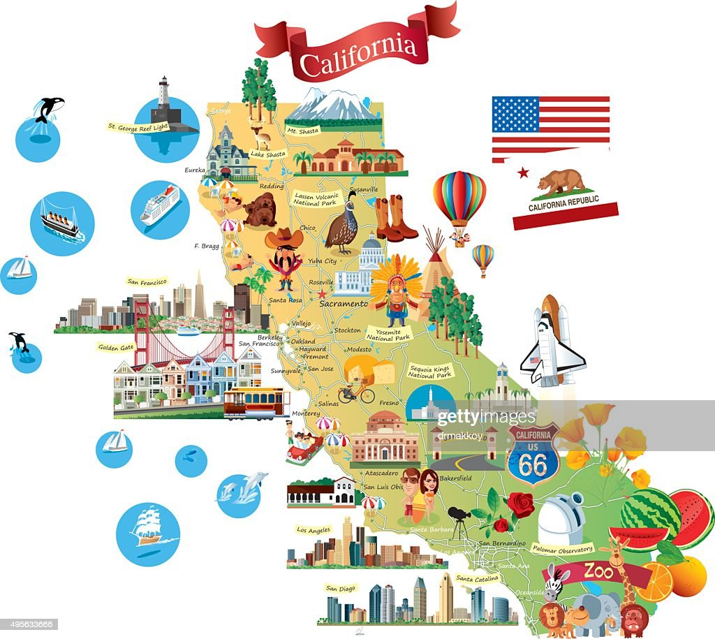 Cartoon Map Of California Vector Art Getty Images - Cartoon map of the us