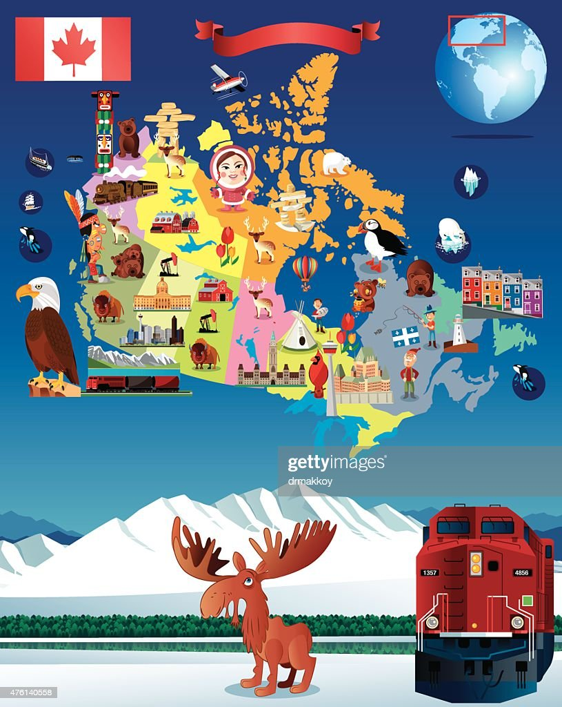 cartoon map of canada vector art getty images