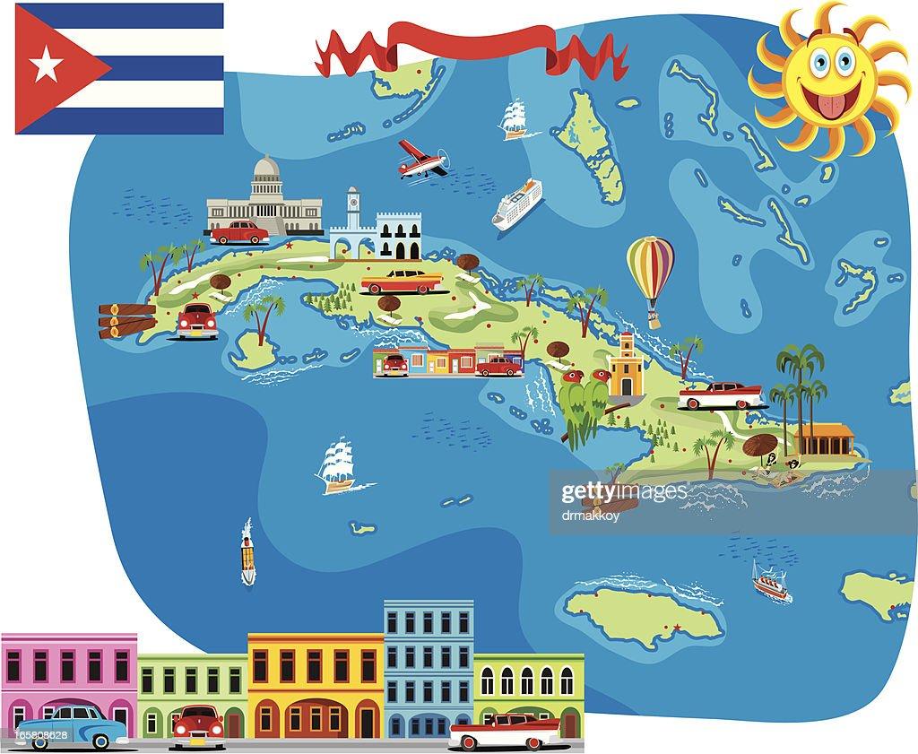 Cartoon Map Of Cuba Vector Art Getty Images - Map of cuba