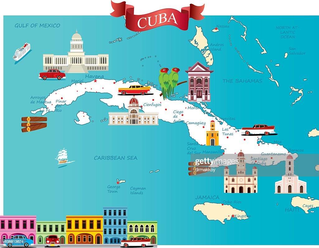 Cartoon Map Of Cuba Vector Art Getty Images - Map cuba