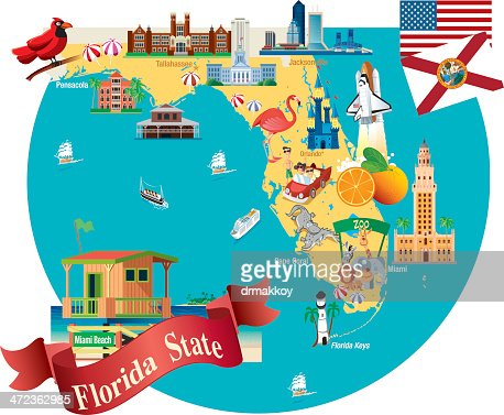 Cartoon Map Of Florida Vector Art | Getty Images