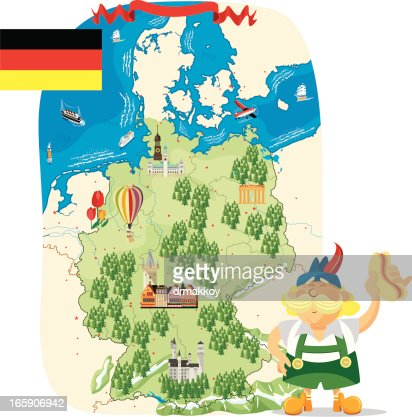 Cartoon Map Of Germany Vector Art Getty Images - Germany map cartoon