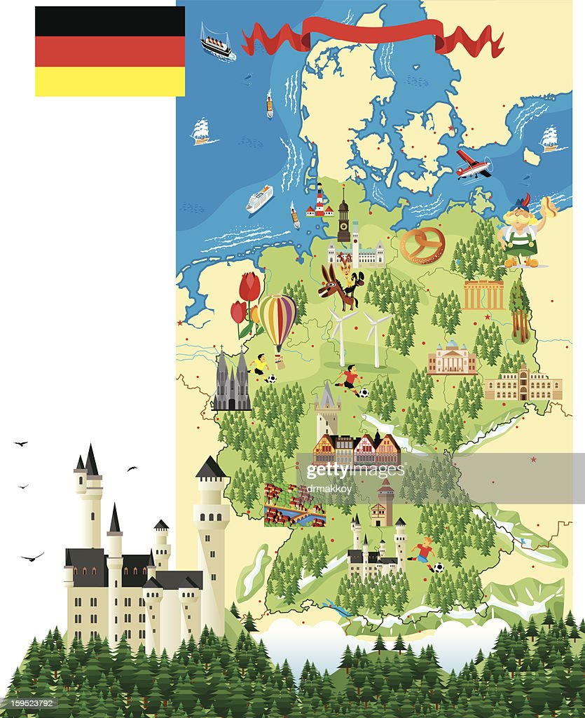 Cartoon Map Of Germany With A Castle And Trees Vector Art Getty - Germany map cartoon
