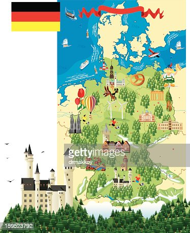Cartoon map of Germany with a castle and trees : Vector Art