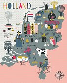 Cartoon Map of Holland with illustrations of landmarks and Legend Icons