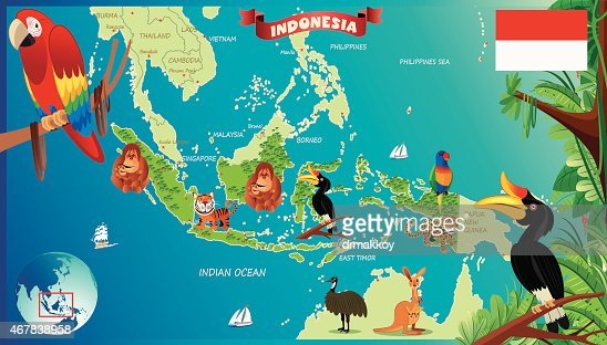 Cartoon Map Of Indonesia Vector Art Getty Images - Indonesia map