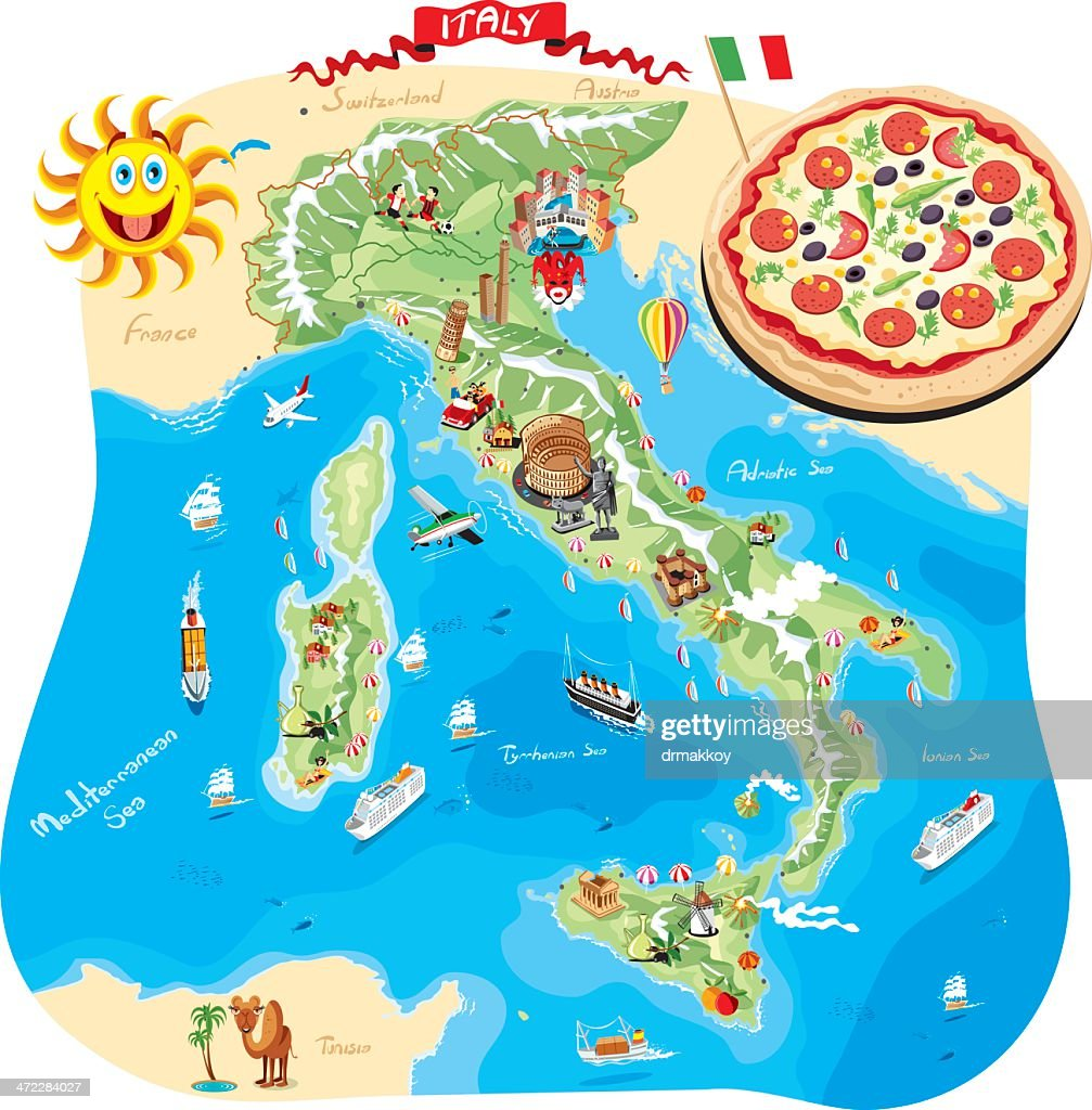 Cartoon Map Of Italy Vector Art Getty Images - Map of italy