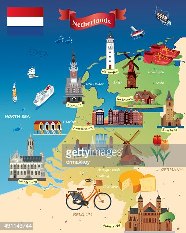 Cartoon Map Of Netherland Vector Art Getty Images - Germany map cartoon