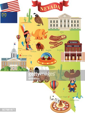 Cartoon Map Of Nevada Vector Art Getty Images - Mapofnevada