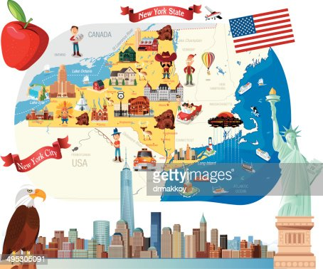 Cartoon Map Of New York Vector Art Getty Images - Map of new tork