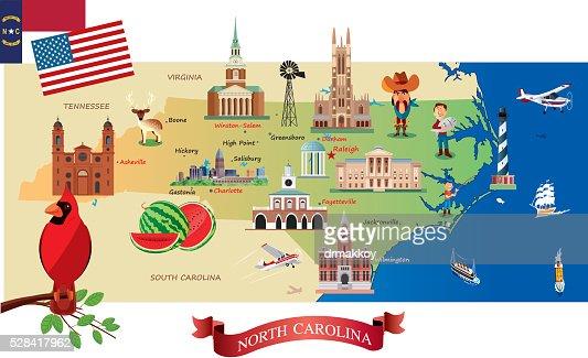 Cartoon Map Of North Carolina Vector Art Getty Images - Mapofnorthcarolina
