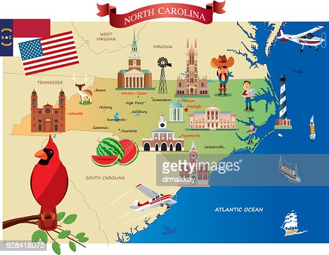 Cartoon Map Of North Carolina Vector Art Getty Images - Map of n carolina