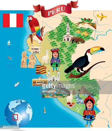 Green Map Of Peru States Cities And Flag Vector Art Getty Images - Perus map