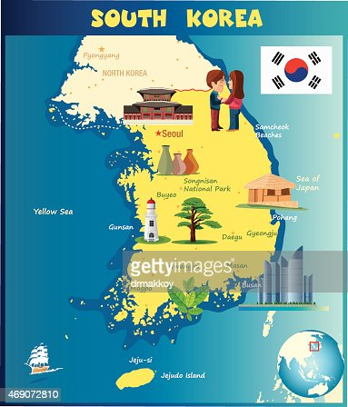 Cartoon Map Of South Korea Vector Art Getty Images - South korea map