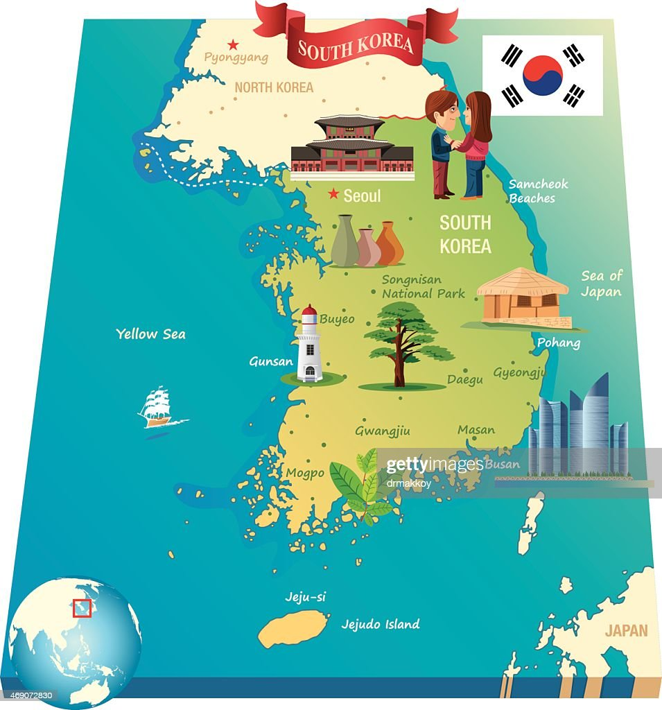 Cartoon Map Of South Korea Vector Art Getty Images - Map of south korea