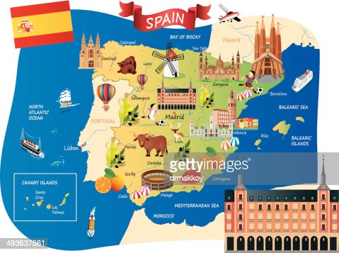 Cartoon Map Of Spain Vector Art Getty Images - Map of spain
