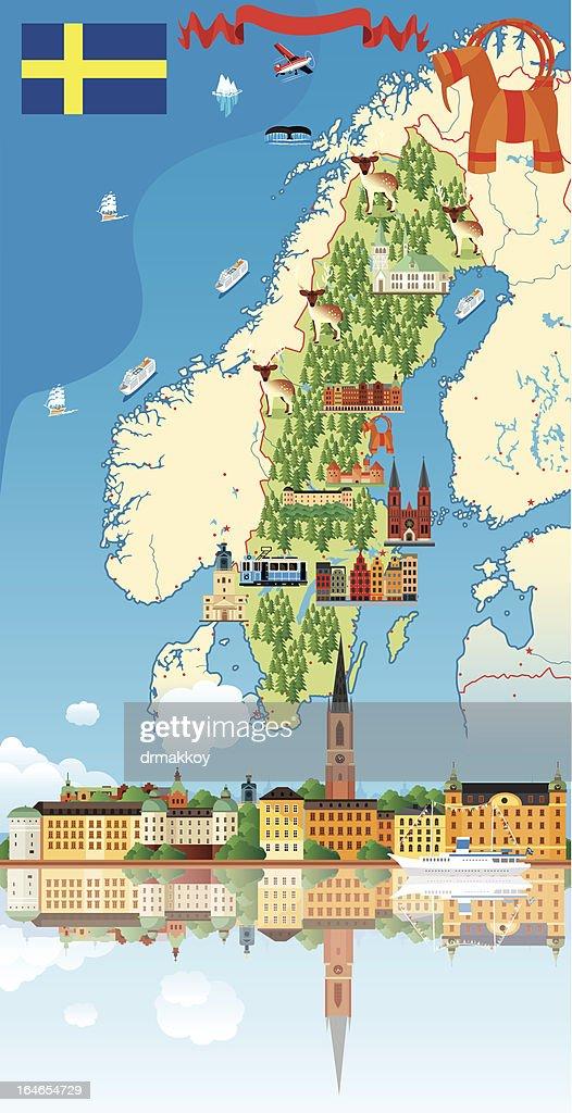 Cartoon map of Sweden : Vector Art