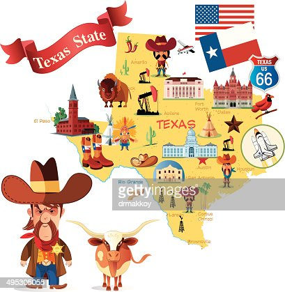 Texas Map With Traditional State Items Illustration Vector Art - Texas map of usa