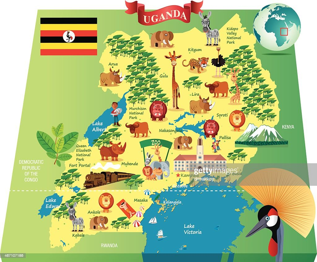 Cartoon Map Of Uganda Vector Art Getty Images - Map of uganda