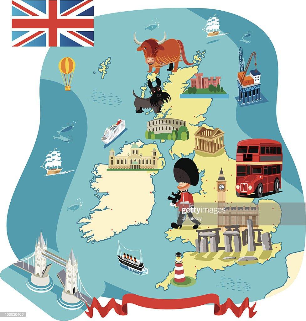 Cartoon map of UK : Vector Art