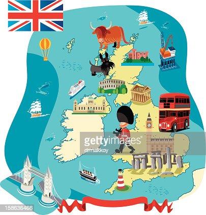 Dessin Carte du Royaume-Uni : Clipart vectoriel