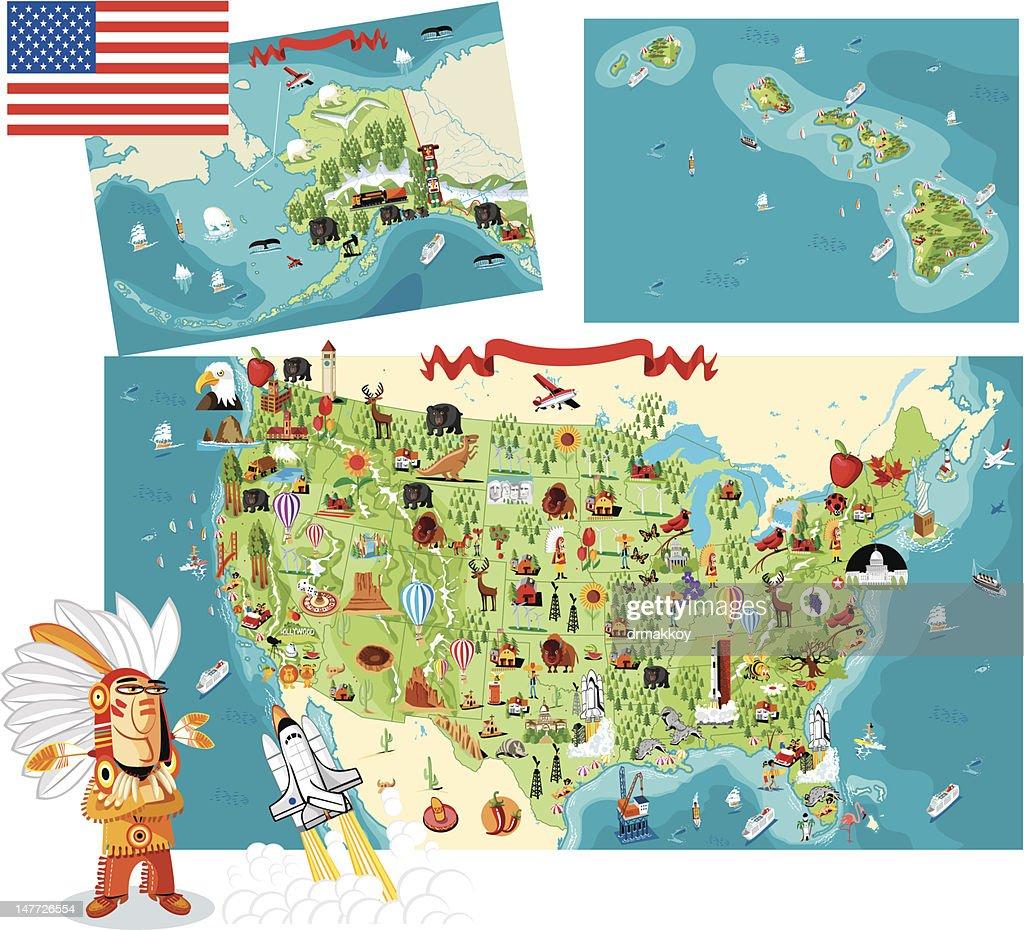 Cartoon map of USA : Vector Art